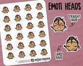 Tan Skin EMOTI EMOJI Head Planner Stickers, Latin Hispanic Boricua - Erin Condren, Happy Planner, Kikki K, Filofax, Decorative