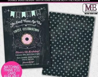 Sweet, Donuts Birthday Party Invitations