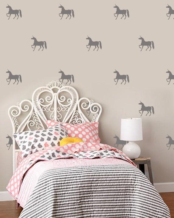 Unicorn wall decals girls room decor nursary decor unicorn for Unicorn bedroom decor
