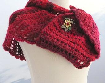 Hand crochet berry red shawl