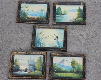 Set of 5 Oil on Board Paintings Waterfall Lake Sailboats Lighthouse Beach Landscape Framed