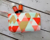 Clearance Ready to ship, New Essential Oil bag, travel case, zipper bag, Geometric , (holds 12-14)