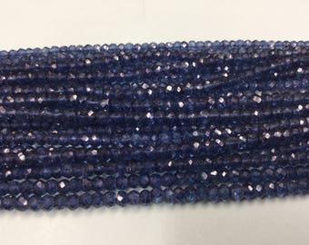 Blue Mystic Quartz Rondelles Faceted