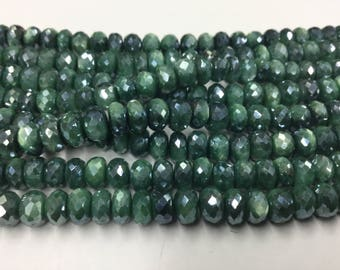 Green Caribbean Moonstone Rondelles Faceted