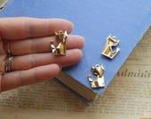 2 pcs Gold Origami Fox Charm 22mm (SC3211)