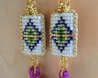 Beaded Earrings, Diamond Designs in Purple, Gold and Green with tassels