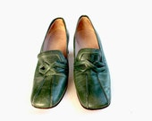 Elegant Shoes, High Heels Shoes, Dark Spring Green, Square-Toed Shoes, Italian Leather, Vintage Shoes, Women Shoes, Retro Shoes, Green Shoes
