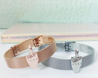 Rose Gold & Silver Stainless Steel Middle Finger Charm Bracelet Fuck Bracelet FU Bracelet Gift for her Birthday Day Gift Charm Bracelet