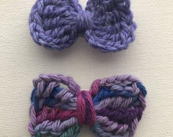 Three Purple Crochet Hair Clips