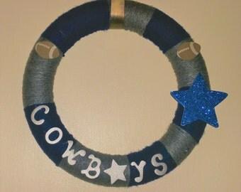 12 Inches Dallas Cowboys Yarn Wrapped Wreath