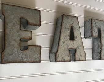 Eat Sign / Metal Letter/ EAT  /Wall Letter Sign / Signage / Rustic Industrial Wall Letters / Yum / Wedding /You Pick  Letters