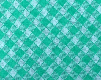 Double Knit Fabric / Green Check Double Knit / Green Double Knit / Double Knit / Check Fabric / Polyester Double Knit