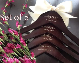 Set of 5 Wedding dress hanger, Wooden Engraved HangerCustom Bridal Hangers,Bridesmaids gift, Wedding hangers with names,Custom made hangers