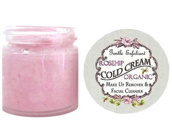 Best Seller Organic ROSEHIP COLD CREAM Makeup Remover and Facial Cleanser Gentle Exfoliant 100% Chemical Free