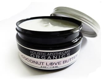 Organic COCONUT LOVE BUTTER All Over Organic Moisturizer Coconut Oil & Shea Butter Blend is Super Creamy Pure and Natural