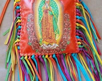 """KurtMen~Guadalupe Coral/Orange~Colorful 8"""" Fringe~Crossbody~ Italian Leather Purse"""