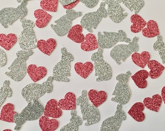 Bunnies & Hearts Glitter Confetti -- Easter / Baby Shower / Birthday Party / Bridal Shower