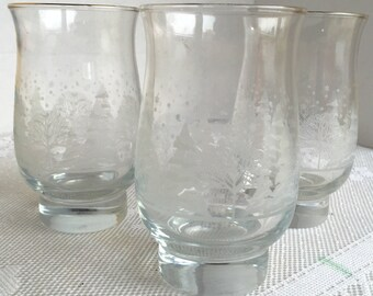 Vintage Libbey Winter White Glass Tumblers / Christmas Iced Tea Glasses / Holiday Glassware / Winter Wonderland