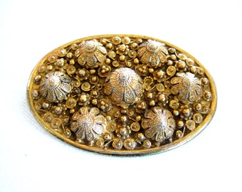 Exquisite Dazzling Ornate Gold Brooch Signed Etrusceana Glamourous Collectible Etruscan Style Vintage Jewelry Gift for Wife Gift for Her