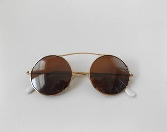 john lennon sunglasses | vintage 90s does 60s brown gold small round metal frame shades hippie boho glasses 1990s grunge dresses bohemian