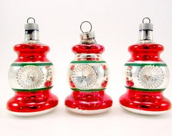 Vintage Christmas Ornaments Premier Glass Mold Blown Indent Lanterns Christmas Decorations Red
