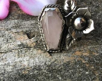 Coffin Ring, Sugar Skull Ring, Skull Ring, Skull jewelry, Rose Quartz jewelry, Rose Quartz Ring, Memento Mori Ring, Beloved Flower Ring