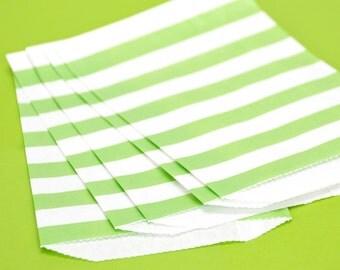Green Wide Stripe Paper Bags