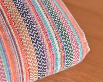 Colorful Striped Cotton-Linen Fabric Sold by Half Metre MJ611