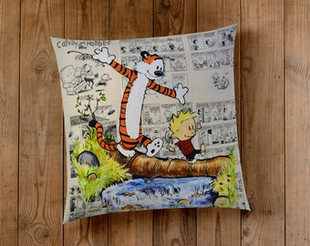 Decorative Pillow of Calvin and Hobbes Exploring