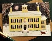Christmas - Emily Dickinson - Traditional Snow Scene - Holiday - Writer's Houses - Naive Art - Massachusetts - Poet - Moon - Snow