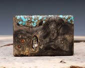 Exotic Wood, Turquoise, Brass and Paua Shell Inlaid Belt Buckle - Handmade