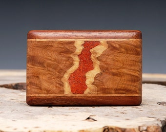 Exotic Wood and Red Coral Belt Buckle