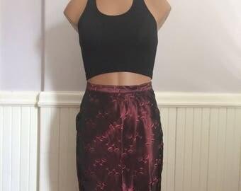 Women's Vintage Clothing / Burgundy Martini Skirt / Vintage Cocktail Skirt / Extra Small 50's Pencil Skirt