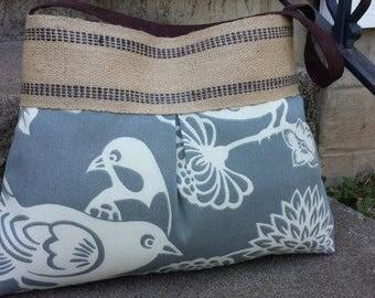Grey and White Chevron Zig Zag Pleated Handbag Purse Tote Bag with Jute Webbing