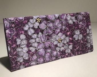 Fabric Checkbook Cover - Purple Violets with Dark Purple Interior