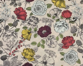 Fabric by the yard , 1 yard floral print , stunnin gcotton fabric
