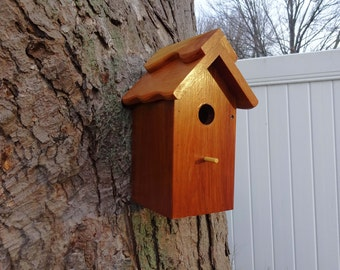 Birdhouse/Nesting Box 1, Outdoor Plain Wood. Handmade, good quality, fully functional - Western Red Cedar. Made in USA