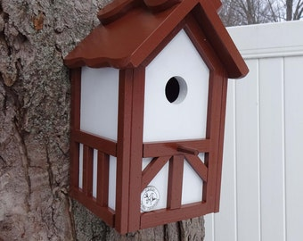 Tudor birdhouse, Nesting Box ,Old English bird house, birdhouse with cleanout, tree mount, post mount, thatch style brown roof ,Made in USA