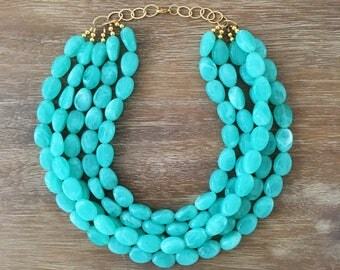 Statement Necklace Bridesmaid Jewelry JACKIE O Bright NEON TURQUOISE Wedding Jewelry Statement Jewlery White Necklace
