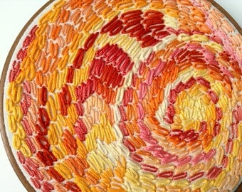 SUNSET CELLULAR, Embroidery Hoop Art Piece, Unique Vintage Hoop With Warm Shades Of Orange, Coral, Rust, Bubblegum, Gold, Butter