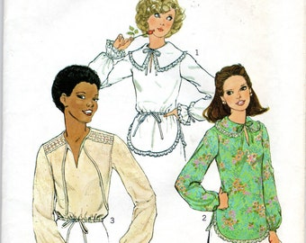 """1970s Women's Pullover Blouse with Lace Trim Pattern- Size 10, Bust 32 1/2"""" - Simplicity 8148"""