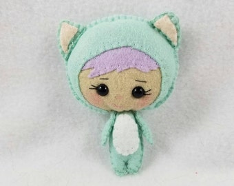 Felt Toy Mint Green Binky Boo Kitty-Arms and Legs Move!