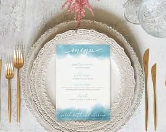 Dusty Blue Watercolor Printable Wedding Or Event Menu Cards