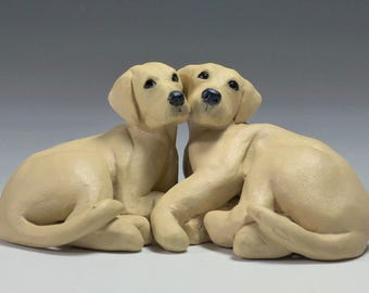 Original Labrador Puppy Sculpture, Golden Labrador Retriever sculpture, Cuddling Puppies