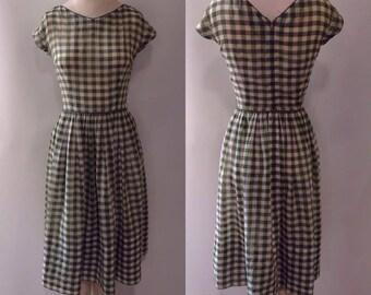 L'aiglon 1950's Green/Grey/White Gingham Summer Dress