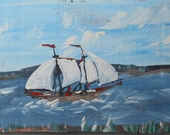vintage Maine folk art gouache painting signed a hinckley