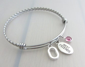Best Friend Charm Stainless Steel Bangle, Birthstone Initial Bangle, Personalised Silver Letter Bracelet, Adjustable Friendship Twist Bangle