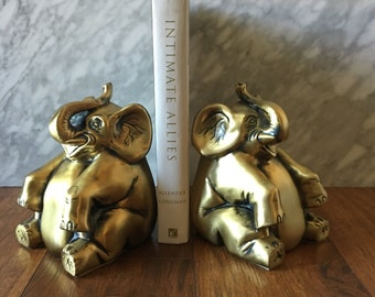 Vintage  Elephant Bookends Cast Metal Brass MFG Crafted Gold Gilt Chinoiserie Home Decor 1900s Collectibles Hollywood Regency