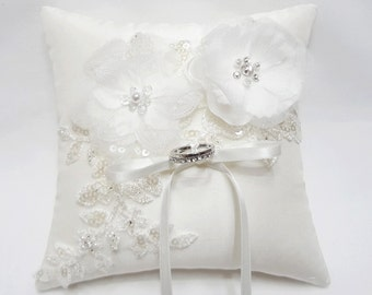 Wedding ring pillow, off white ring pillow, organza blossom ring pillow, ring bearer pillow