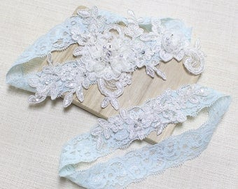 Lace blue garter set, wedding garter set, bridal lace garter set, garter set, blue lace garter, blossom  garter set